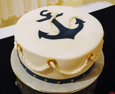 navy cakes - I like the clean lines but I don't think I can do the rope. Nautical Birthday Cakes, Nautical Cake, Adult Birthday Cakes, Cake Birthday, Nautical Theme, Birthday Ideas, Beautiful Cakes, Amazing Cakes, Sailor Cake
