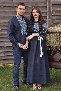 organic linen embroidered navy long dress by SlavicPassion Frock Fashion, Hijab Fashion, Boho Fashion, Fashion Dresses, Stylish Dresses, Simple Dresses, Afghan Dresses, Mexican Dresses, Embroidered Clothes