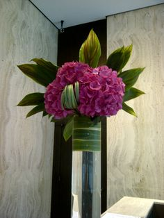 use the houseplant with pink in leaves with peonies, iris leaves for wrap, looped grasses Arrangements Ikebana, Creative Flower Arrangements, Tropical Flower Arrangements, Modern Floral Arrangements, Flower Arrangement Designs, Church Flower Arrangements, Beautiful Flower Arrangements, Tropical Flowers, Beautiful Flowers