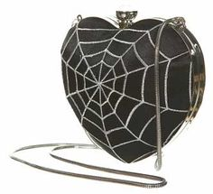 Heart Shaped Black Spiderweb Clutch Purse with Metal Closure and Chain Strap.    AWESOME.