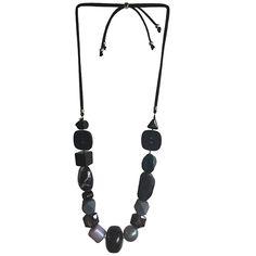 SUKI - the one button shop Button Jewellery, Jewelry, Black Smokey, Chunky Beads, Aw17, Dark Teal, Winter Season, Midnight Blue, Happy Shopping