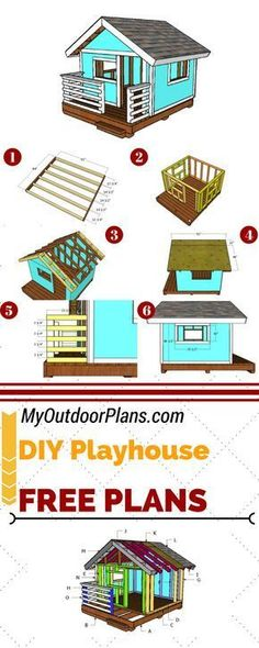 Free playhouse plans so you can build a retreat shelter for your kids. This playhouse with a gable roof and with front porch is the ideal choice for any budget. Full plans at: MyOutdoorPlans.com #diy #playhouse