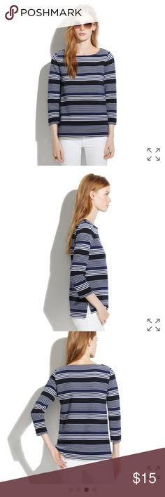 """Madewell Gallerist Ponte Top in Stripemix Sz Med Navy, black and white striped top. Material is thick and textured. 67% polyester/32% cotton/1% spandex. Length is 22.5"""". Armpit to armpit measures 18.75"""" across. Worn and shows some wear. There is pilling underneath the arms and throughout. Price reflects wear. No trades or Paypal. Madewell Tops Tees - Long Sleeve"""