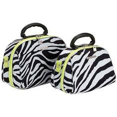 Cosmetic Case Set 2-piece Travel Make Up Kit Organizer Bag Zebra and Lime New #LucaVergani