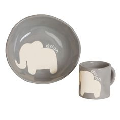 Personalized Cup & Bowl Set - Elephant - Make mealtime fun with this cute ceramic bowl and cup set. Each one is painted by hand and personalized with the child's first name, so no one else will have one exactly like it!