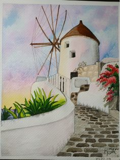Windmill Painting Santorini Landscape Sea Watercolor Orginal Art Artwork inches from TatianaARTshop Architecture Concept Drawings, Watercolor Architecture, Watercolor Landscape, Watercolor Flowers, Watercolor Paintings, Watercolour, Landscape Walls, Landscape Paintings, Windmill Art