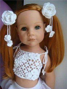 Crochet Doll Dress, Crochet Doll Clothes, Crochet Doll Pattern, Doll Clothes Patterns, Baby Barbie, Baby Dolls, Pretty Dolls, Beautiful Dolls, American Girl Crochet