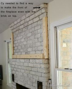 How to build a Fireplace Surround - Beneath My Heart Built In Around Fireplace, Wood Fireplace Surrounds, Brick Fireplace Wall, Faux Fireplace Mantels, Build A Fireplace, Fireplace Update, Fireplace Garden, Brick Fireplace Makeover, Fireplace Cover