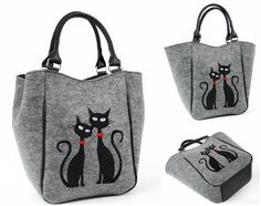 Felt bag with black cats / handbag / felt bag/ handbag with cats by AriadiModo on Etsy https://www.etsy.com/uk/listing/236374655/felt-bag-with-black-cats-handbag-felt