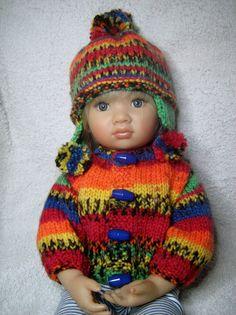 Hand Knitted Jacket Set for 16 Doll Kidz n by DesignerDollsClothes
