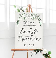 Miss Design Berry's Beige Floral Welcome Sign features dynamic type for a rustic yet modern look, perfect for your floral wedding. See more here: https://www.etsy.com/listing/524995330/floral-wedding-welcome-sign-rustic?ref=shop_home_active_14