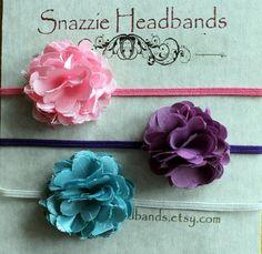 baby headband baby girl headband set of 3 by snazziebabyboutique, $15.00