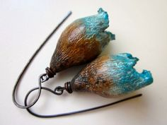 Beauty and Loss are One - primitive organic withered turquoise blue and brown polymer clay ragged bell flower pod & oxidized copper earrings by LoveRoot, $50.00