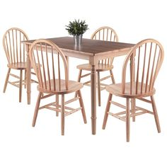 You can add a touch of vintage charm to your dining room or kitchen with the Winsome Ravenna Dining Set. This set includes a dining table with turned legs and rounded corners, as well as matching Windsor chairs with tapered spindles. Solid Wood Dining Set, 5 Piece Dining Set, Dining Room Sets, Dining Table Chairs, Dining Furniture, Barrel Furniture, Country Furniture, Club Chairs, Side Chairs