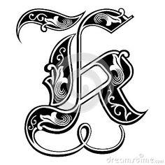Fuente gótica adornada del estilo, letra K