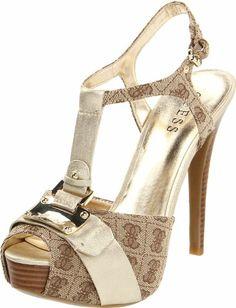 Amazon.com: Guess Women's Kringa Platform Sandal,Beige logo,9.5 M US: Shoes