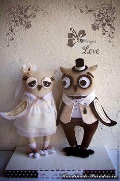 Совиная свадьба. Выкройка совушек. Изумительные совушки - жених и невеста сшиты из льняной хлопчатобумажной ткани. Для глазок можно использовать флис, фетр