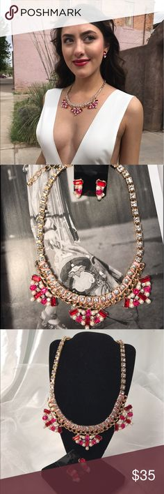 Statement Pink Necklace Set New Listing-4/5/17: This gorgeous set features different pink tone color rhinestones with matching earrings and set on gold tone sturdy chain. Price is firm unless bundled (This closet does not trade) Boutique Jewelry Necklaces