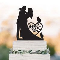 Mr And Mrs Wedding Cake topper with cats include 2 and heart decor,  Bride and groom silhouette funny wedding cake topper, topper wit pet