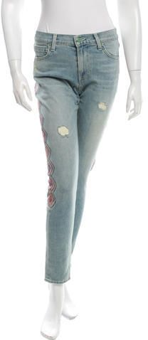 Sandrine Rose Distressed Embroidered Jeans w/ Tags Embroidered Jeans, Distressed Jeans, Skinny Jeans, Tags, Denim, Stylish, Rose, Fashion, Ripped Denim Jeans