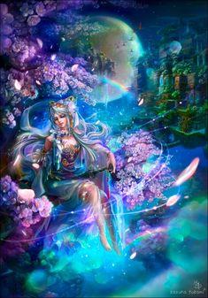 Resultado de imagem para The sword of wind / Fantasy / Kazuha Fukami woman; Beautiful Fantasy Art, Beautiful Fairies, Fantasy Paintings, Fantasy Artwork, Fantasy Girl, Fantasy Creatures, Mythical Creatures, Photo Manga, Elves And Fairies