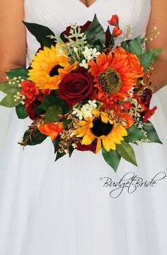 This stunning brides bouquet is hand held bouquet with dark red and orange roses, yellow and orange sunflowers and accented with gold filler other mixed filler and foliage. This bouquet is approx 12 inches wide Anemone Wedding, Fall Wedding Bouquets, Fall Wedding Flowers, Wedding Flower Arrangements, Bride Bouquets, Flower Bouquet Wedding, Blush Bouquet, Sunflower Wedding Flowers, Fall Sunflower Weddings