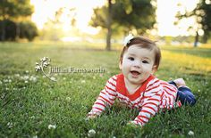 6 month picture ideas for baby girls | watch this little girl grow! Here's her newborn session and 3 month ...