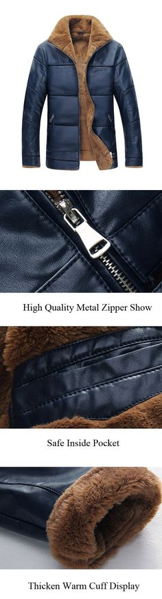 57446df7f9d10 Season Jackets - Winter Outfit  Warm Leather Jacket for Men  Stand Collar  Being the garment of the season has many good things