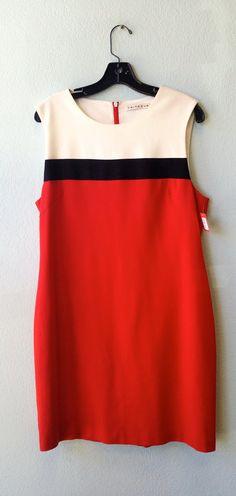 Trina Turk white black red dress L #black #designer #dress #red #size-l #trina-turk #white