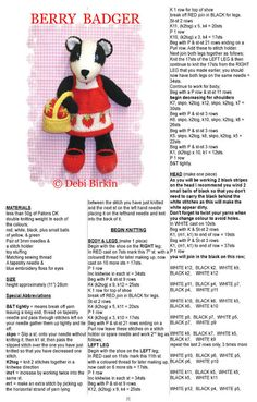 Berry Badger 1 Animal Knitting Patterns, Crochet Dolls Free Patterns, Stuffed Animal Patterns, Crochet Toys, Knitting Stiches, Knitting Books, Free Knitting, Knitting Projects, Little Cotton Rabbits
