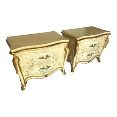 French Louis XV Regency Karges dresser/nightstands hand-painted in a chinoiserie scene. Dresser As Nightstand, Nightstands, Vintage Furniture For Sale, Late 20th Century, Chinoiserie, Regency, Painting On Wood, Home Furniture, Color Schemes