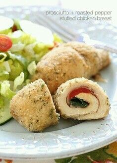 ~Roasted Red Pepper and Prosciutto Stuffed Chicken~ BY: Skinnytaste.com **Ingredients** 8 thin chicken cutlets, 3 oz each●4 (2.8 oz) slices thin lean prosciutto, sliced in half●4 slices reduced fat provolone or mozzarella, sliced in half●8 slices (2.5 oz) roasted peppers (packed in water or homemade)●24 fresh baby spinach leaves (about 1 oz)●1/2 cup Italian seasoned breadcrumbs●1 lemon, juiced●1 tbsp olive oil●salt and fresh pepper●olive oil non-stick spray. **Directions** Wash and dry the…