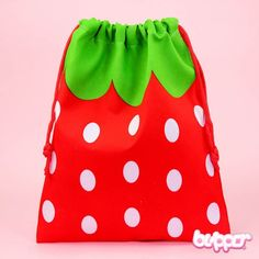Strawberry Draw String Pouch - Large