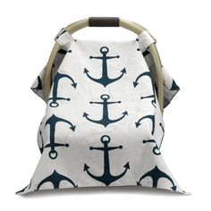 Price includes monogram! Shield your baby from the sun with our fun Nautical Anchors Car Carrier Canopy Cover. This generously sized cover is 45 x 28