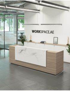 Venido Wooden Contemporary Reception Desk - Enengo Tutorial and Ideas Reception Counter Design, Office Reception Design, Modern Reception Desk, Reception Furniture, Salon Reception Desk, Hospital Reception, Shop Counter Design, Lobby Reception, Corporate Office Design
