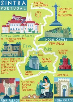 15 Things You Need To Know About Visiting Sintra In Portugal Sinatra map - Portugal - 'Walk of the Month' - The Daily Telegraph - Acrylic on paper - John Montgomery Sintra Portugal, Spain And Portugal, Portugal Vacation, Portugal Travel, Spain Travel, Portugal Trip, Portuguese Royal Family, Voyage Europe, Travel Planner
