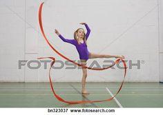 ginasta, menina, dançar, com, fita Ampliar Foto