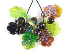 Acorns and Oak Leaves  11 Lampwork Beads  Betty by bettyhanssen, $36.00