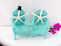 Beach Chair starfish Bride & Groom cake by NauticalWeddings