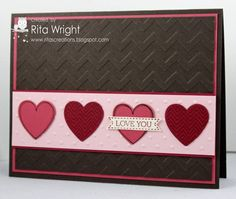 Valentine with Stampin' Up! Hearts Aflutter stamp and assorted embossing folders.