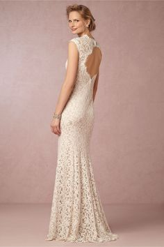 Shop romantic and simple wedding dresses. Find elegance in column or sheath wedding dresses in BHLDN bridal dresses from Anthropologie's wedding collection. Lace Back Wedding Dress, Bhldn Wedding Dress, Used Wedding Dresses, Wedding Dress Sizes, Wedding Attire, Bridal Gowns, Lace Dress, Wedding Gowns, Lace Gowns