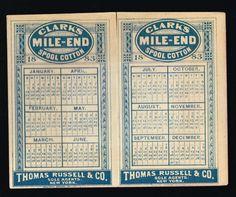 2/ 1883 Folding Calendar Clark's Mile End Spool Cotton Thread