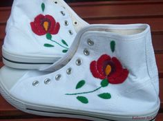 Kalocsai Hi Tops by KalocsaArtStore on Etsy Hungary, Embroidery, Canvas, Floral, Gifts, Etsy, Fashion Design, Tops, Art