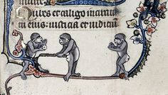 monkey baseball Psalter, Flanders ca. 1320-1330. Bodleian Library, Douce 6, fol. 114r