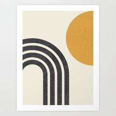 Mid century modern Sun & Rainbow Art Print by moonlightprint Modern Artwork, Modern Art Prints, Modern Wall Art, Framed Art Prints, Midcentury Artwork, Simple Prints, Mid Century Wall Art, Mid Century Modern Art, Minimal Art