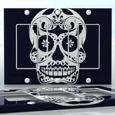 DIY Do It Yourself Home Decor - Easy to apply wall plate wraps | Black & White Sugar Skull #2 Skull with flowers wallplate skin sticker for 3 Gang Decora LightSwitch | On SALE now only $5.95