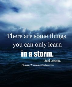 Joel Osteen Quote: There Are Some Things You Can Only Learn In A Storm. - Inspiration in Pictures