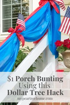 Super easy ideas to get your porch looking great for the of July and Memorial Day! Make this frugal DIY bunting using this Dollar Tree idea! 4th Of July Parade, Fourth Of July Decor, 4th Of July Decorations, Festival Decorations, July 4th, 4th Of July Wreath, Patriotic Bunting, Diy Bunting, Patriotic Crafts