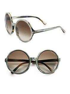 Tom Ford Eyewear Carrie Round Plastic Sunglasses