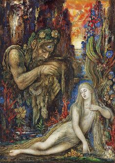 """Gustave Moreau (1826-1898), """"Galathea""""- Galatea, in Greek mythology, a Nereid who was loved by the Cyclops Polyphemus. Galatea, however, loved the youth Acis. When Polyphemus discovered Acis and Galatea together, he crushed Acis to death with a boulder."""